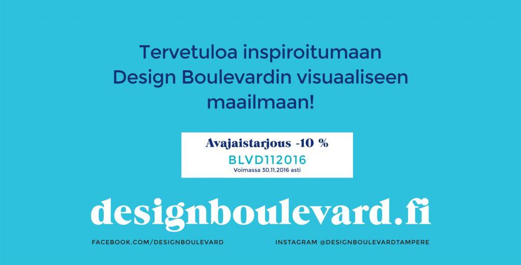 avajaistarjous, verkkokaupan alekoodi Design Boulevard