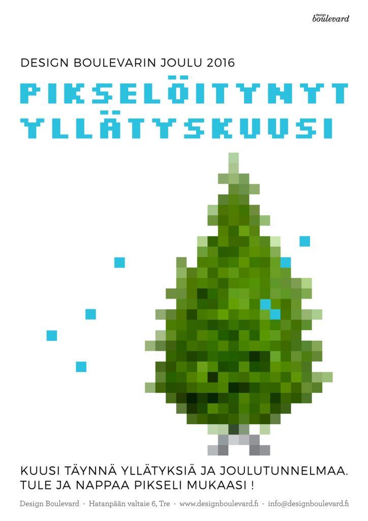 Pikselöitynyt yllätyskuusi Design Boulevardilla, joulunavaus, design, sisustusliike