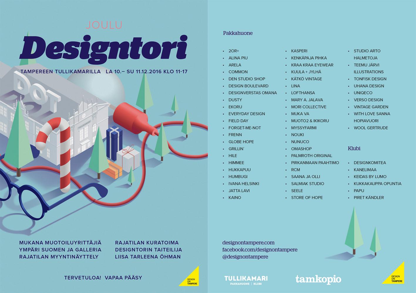 Designtori joulu tapahtuma 10.-11.12.2016 Tampere Design Boulevard mukana torilla