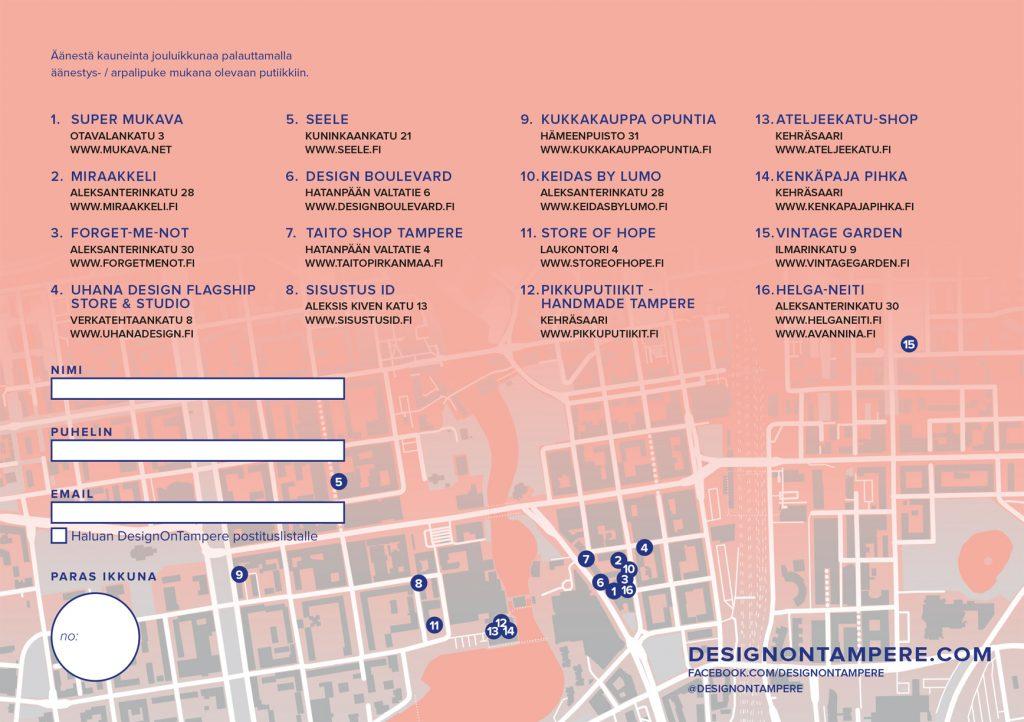 DesignOnTampere kaunein jouluikkuna kartta Tampere